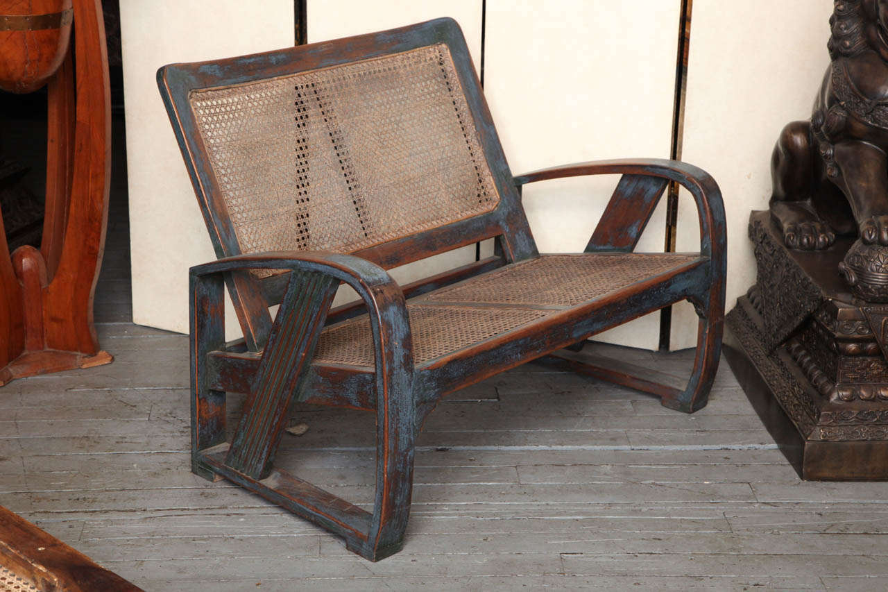 This pair of large burmese arm chairs is no longer available - Burmese Art Deco Teak Settee And Chair 3