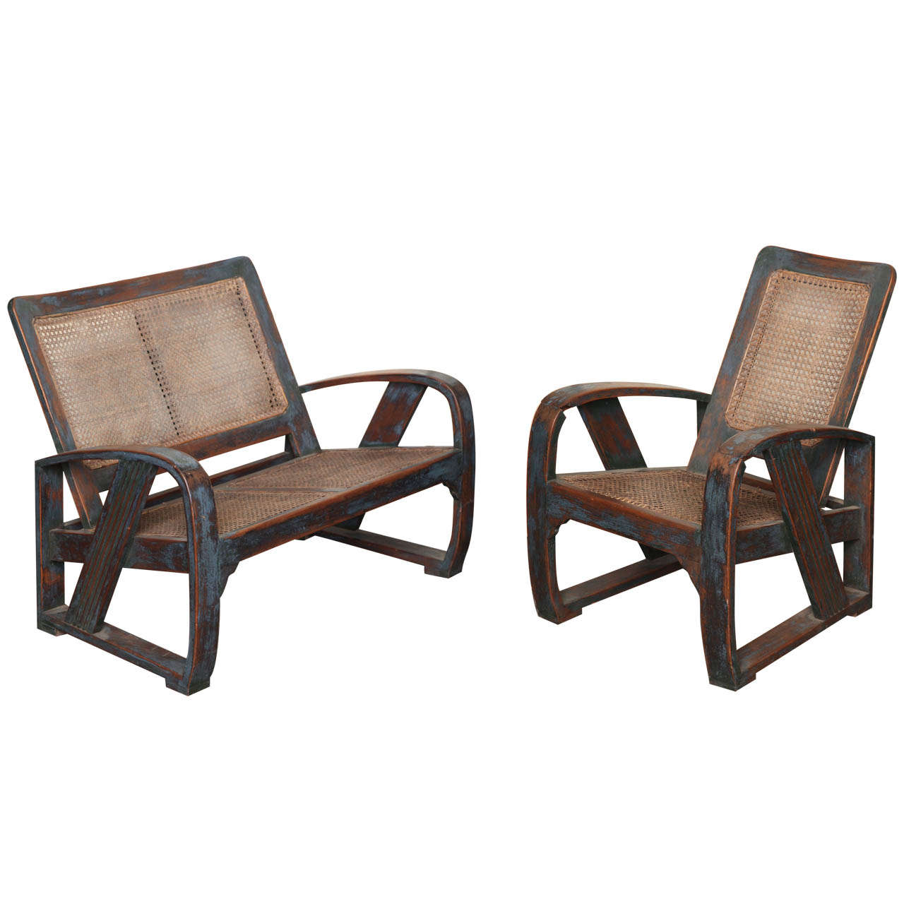 This pair of large burmese arm chairs is no longer available - Burmese Art Deco Teak Settee And Chair 1