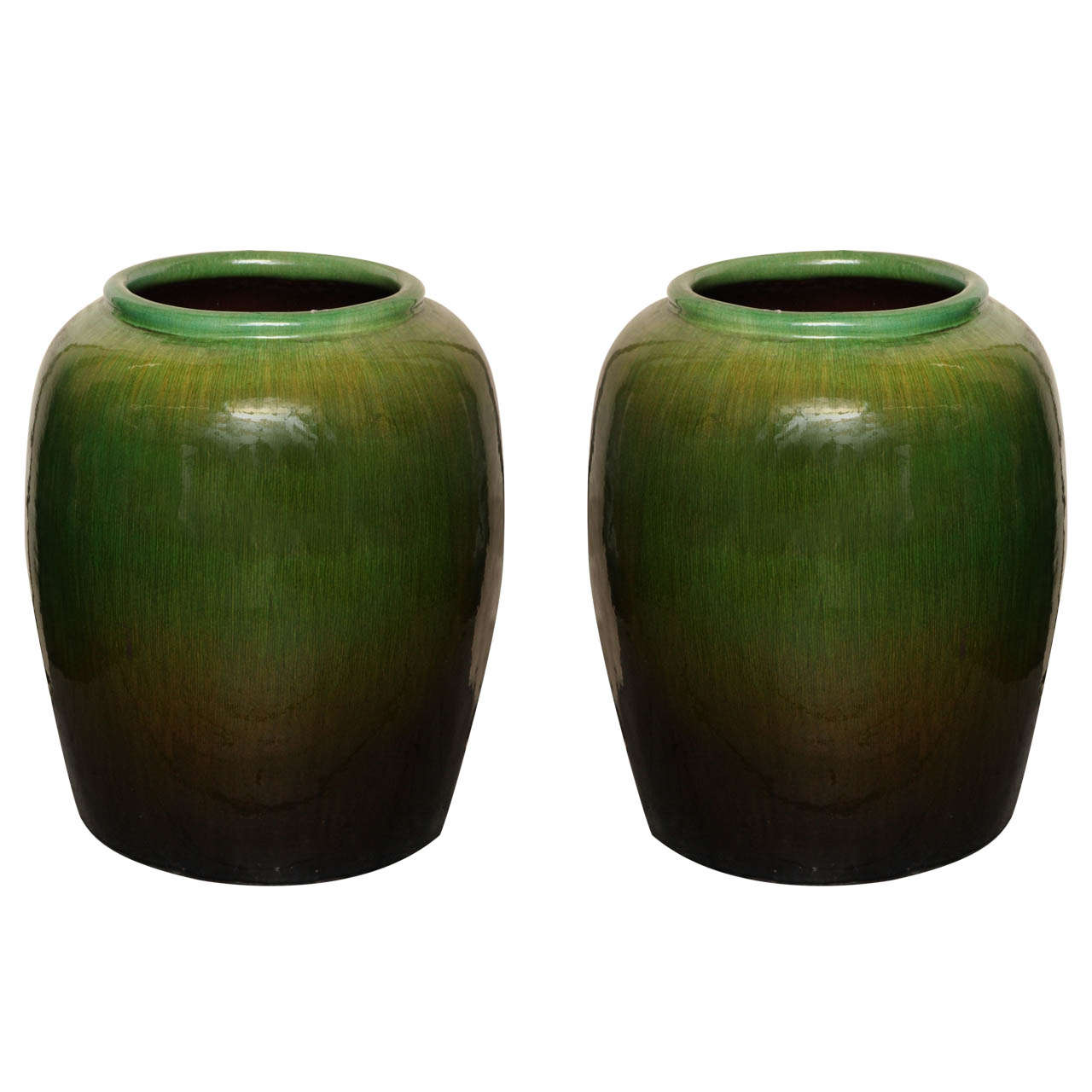 Vintage Tall Round Green Glaze Ceramic Water Jar from China