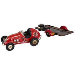 Ohlsson & Rice Rare Streamline American Art Deco Tether Race Car Model No. 88 with Trailer circa 1950