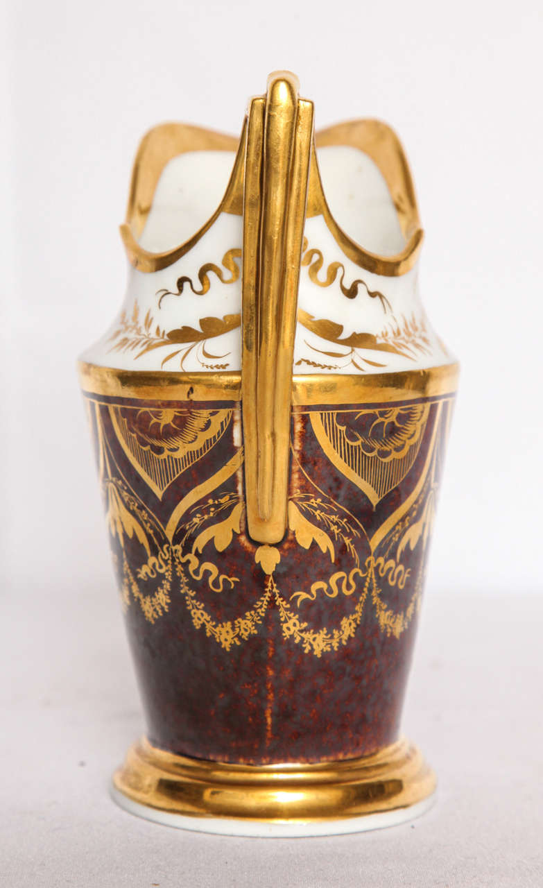 French Gilt and Painted Porcelain Pitcher In Excellent Condition For Sale In New York, NY