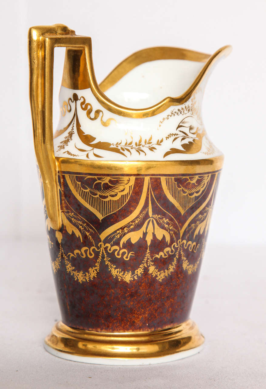 19th Century French Gilt and Painted Porcelain Pitcher For Sale