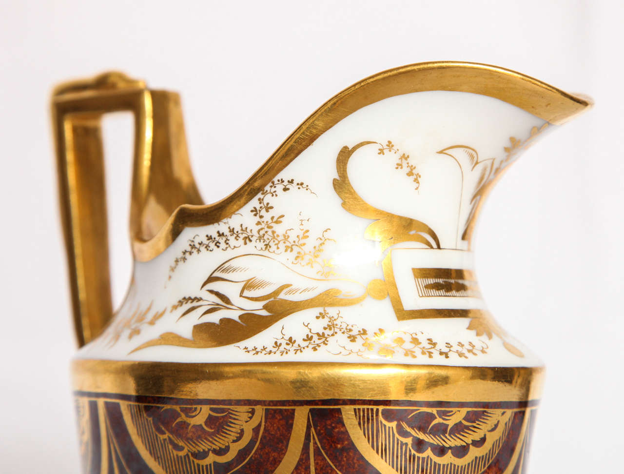 French Gilt and Painted Porcelain Pitcher For Sale 1