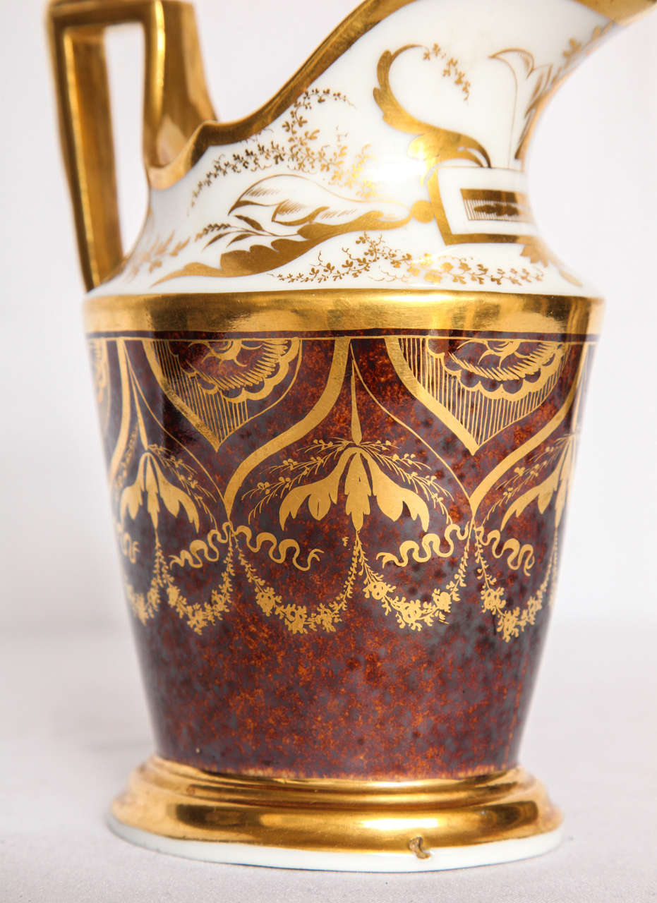 French Gilt and Painted Porcelain Pitcher For Sale 2