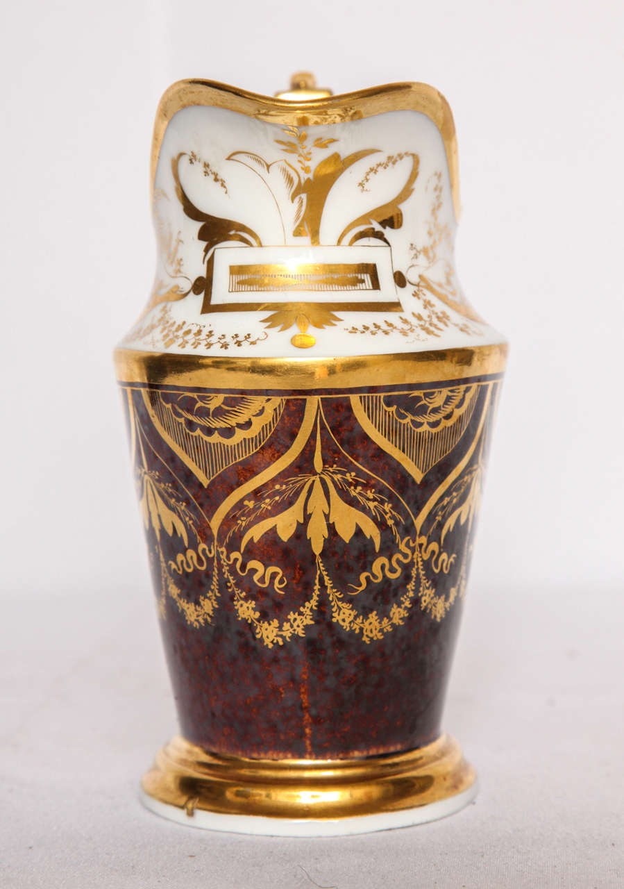 French Gilt and Painted Porcelain Pitcher For Sale 3