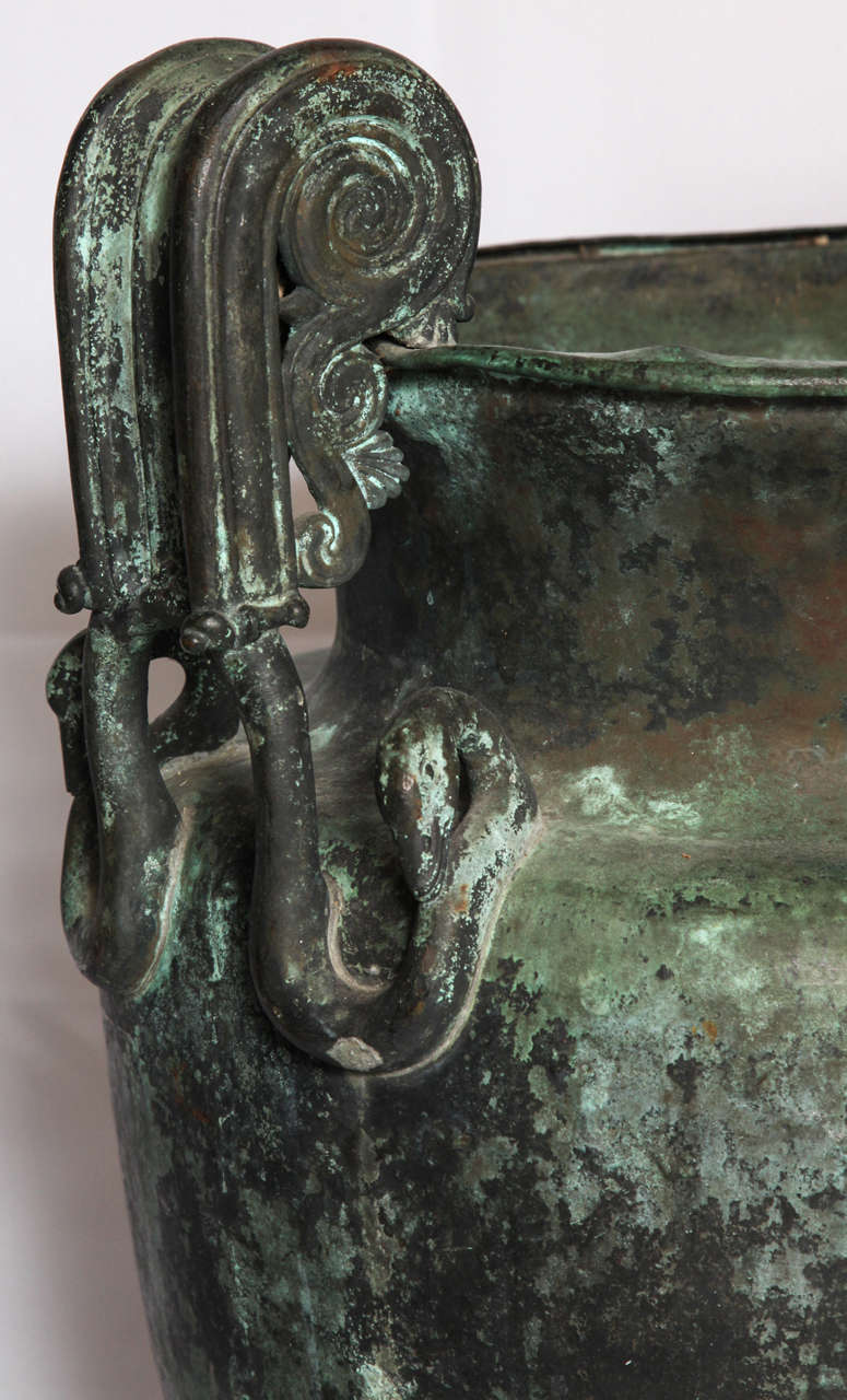 """Pair of large neoclassical urns.  Grand tour patinated copper craters after the antique with swan-form handles from Naples.  Italy, early 19th century.  Dimension: 24.5"""" H x 15"""" D X 17"""" W"""