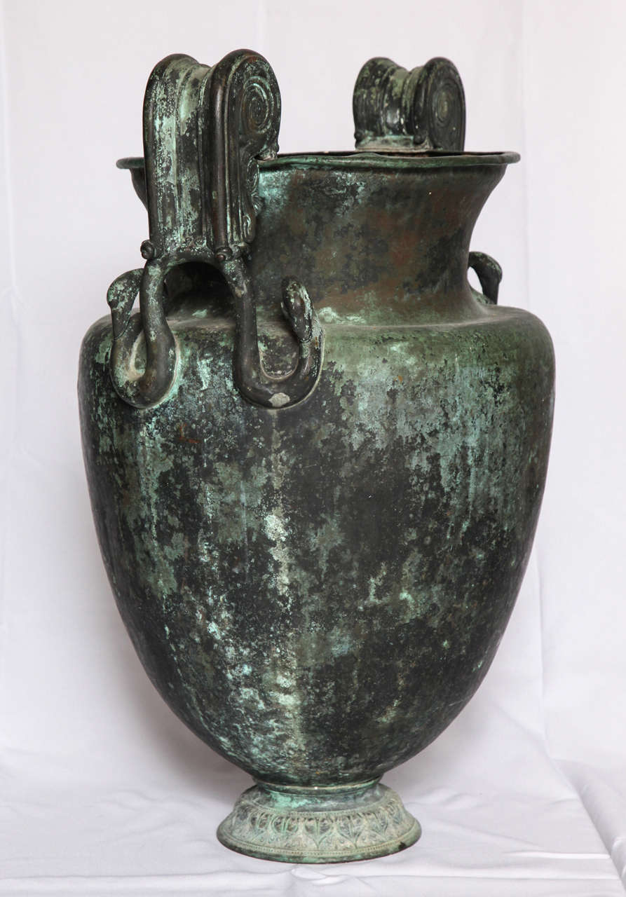 Copper Pair of Large Neoclassical Urns For Sale