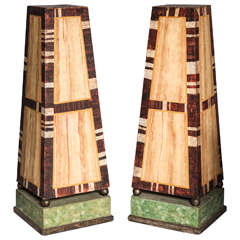 Pair Large Continental Decorative Painted Wood Obelisks