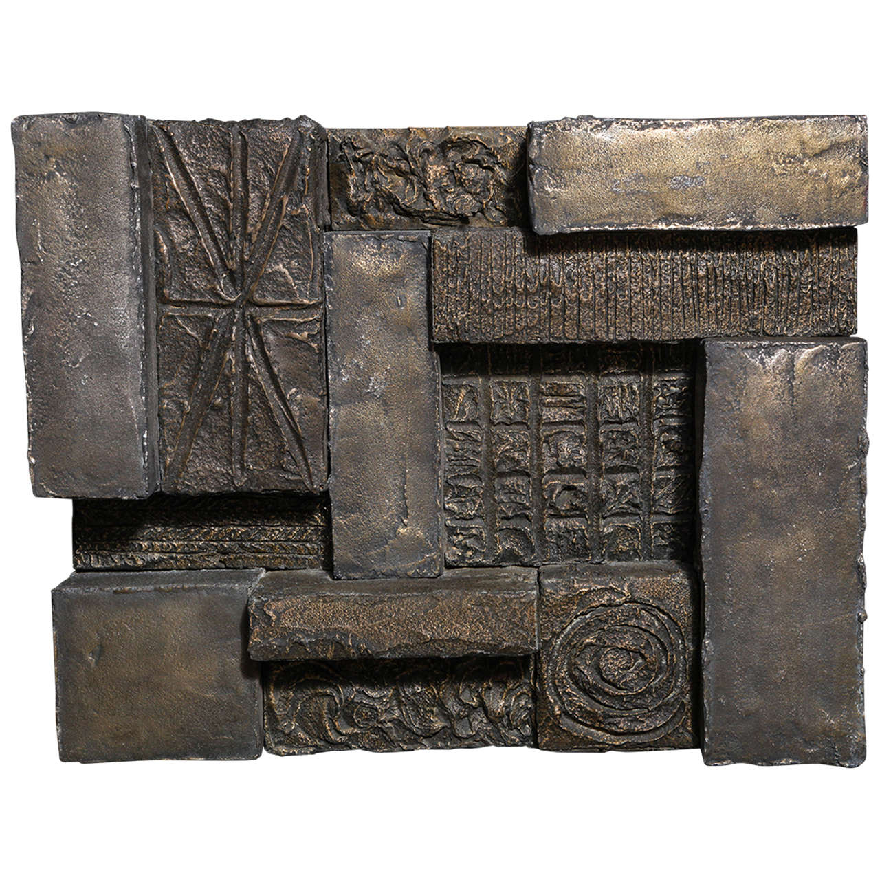 Circa 1970 Paul Evans Sculpted Bronze Resin Brutalist Wall Sculpture