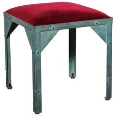 Jean Paul Gautier Paris Showroom Stool in Verdigris Steel with Red Velvet Seat