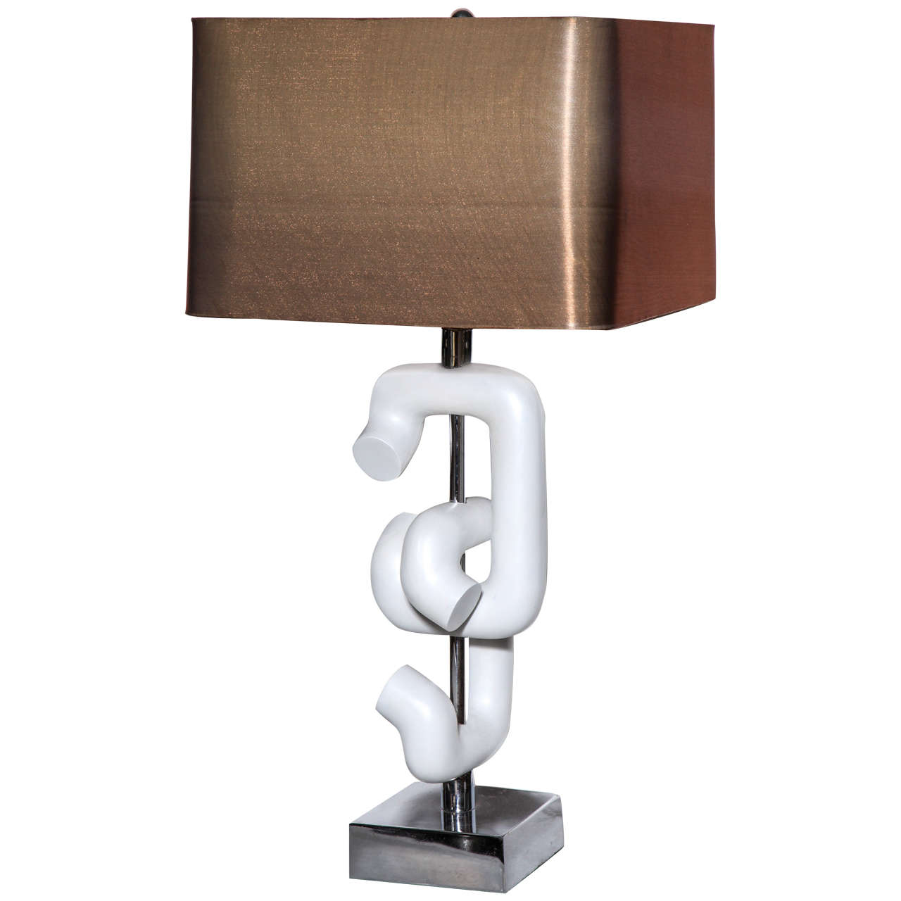 Robert Sonneman Interlocking Chrome & White Enamel Sculpture Table Lamp, 1960s