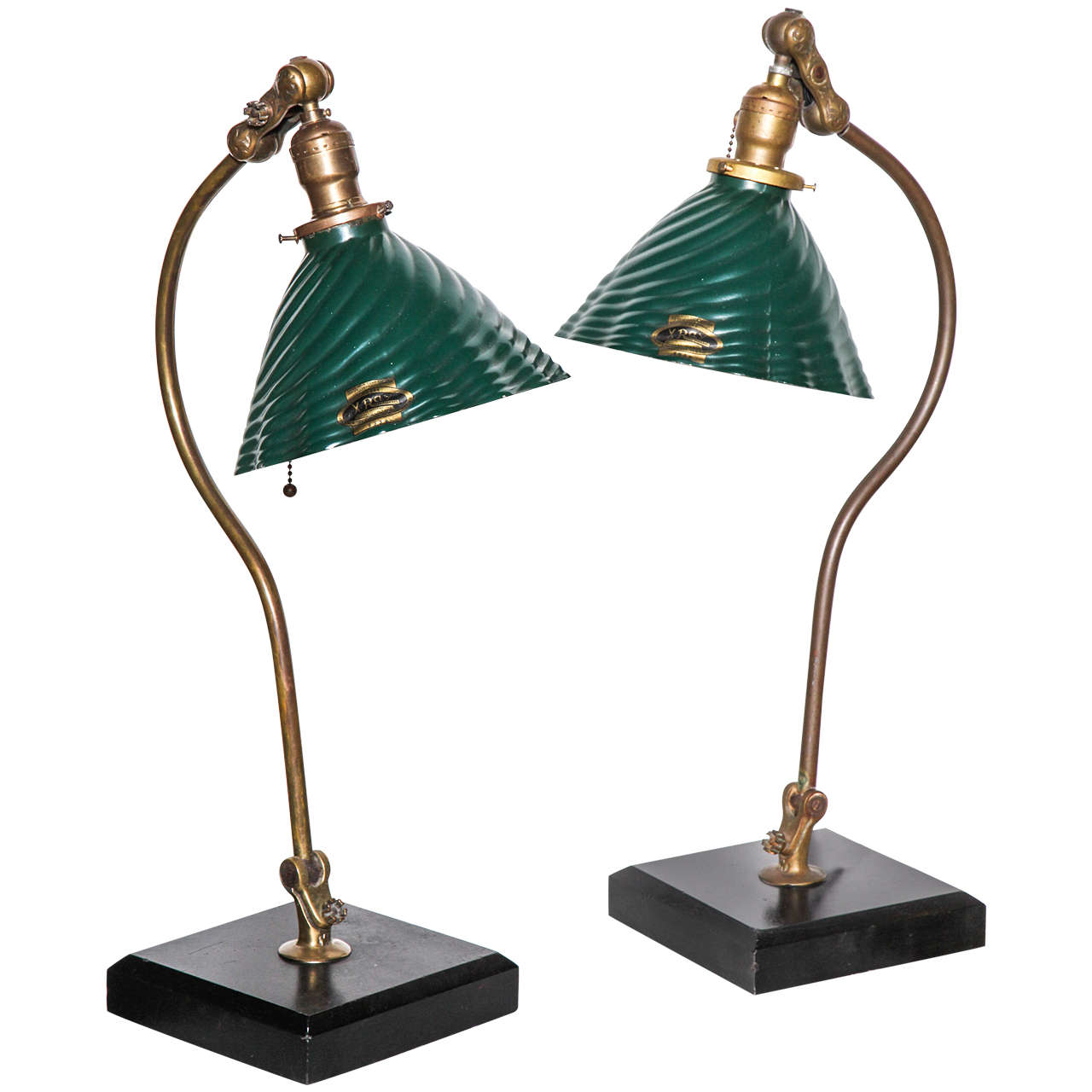 O. C. White Articulating Brass, Slate And Glass Library Table Lamps, Circa  1890 1