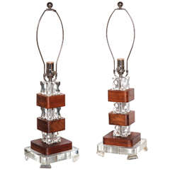 pair of American Modernist Lucite & Mahogany Lamps