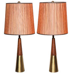 Pair of 1950's Tony Paul for Westwood Walnut and Brass Conical Bedside Lamps