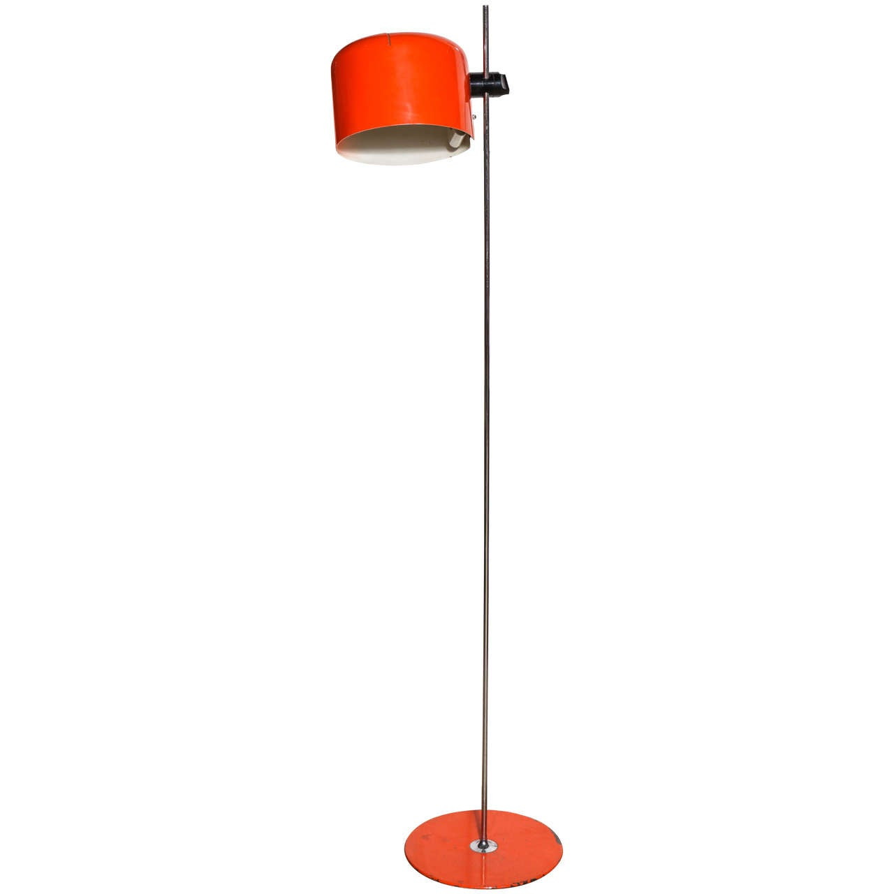 's joe colombo for oluce coupe floor lamp with orange shade  - 's joe colombo for oluce coupe floor lamp with orange