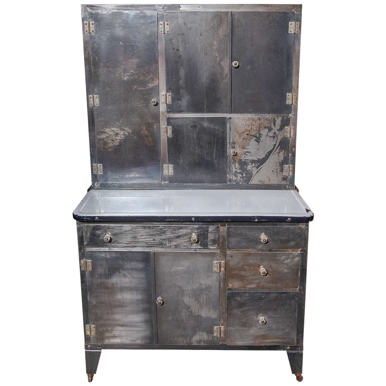 1930 39 s packer rolling metal hoosier cabinet at 1stdibs for 3 piece metal kitchen units