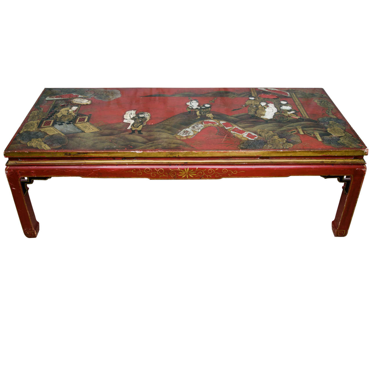 Red Lacquer Chinoiserie Coffee Table At 1stdibs