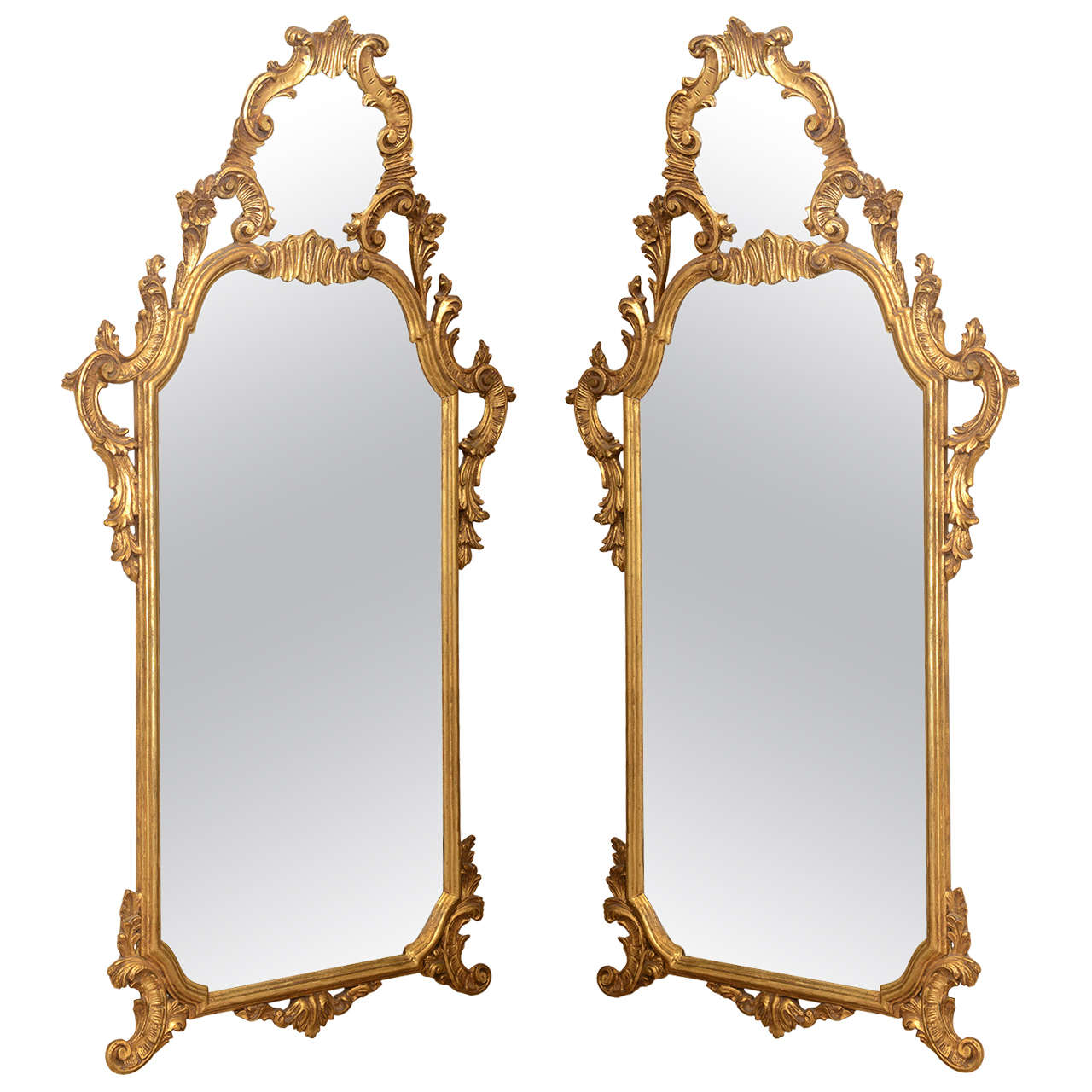 Pair of narrow italian giltwood mirrors for sale at 1stdibs for Narrow mirror