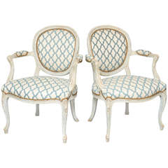 Pair of Painted Fauteuils
