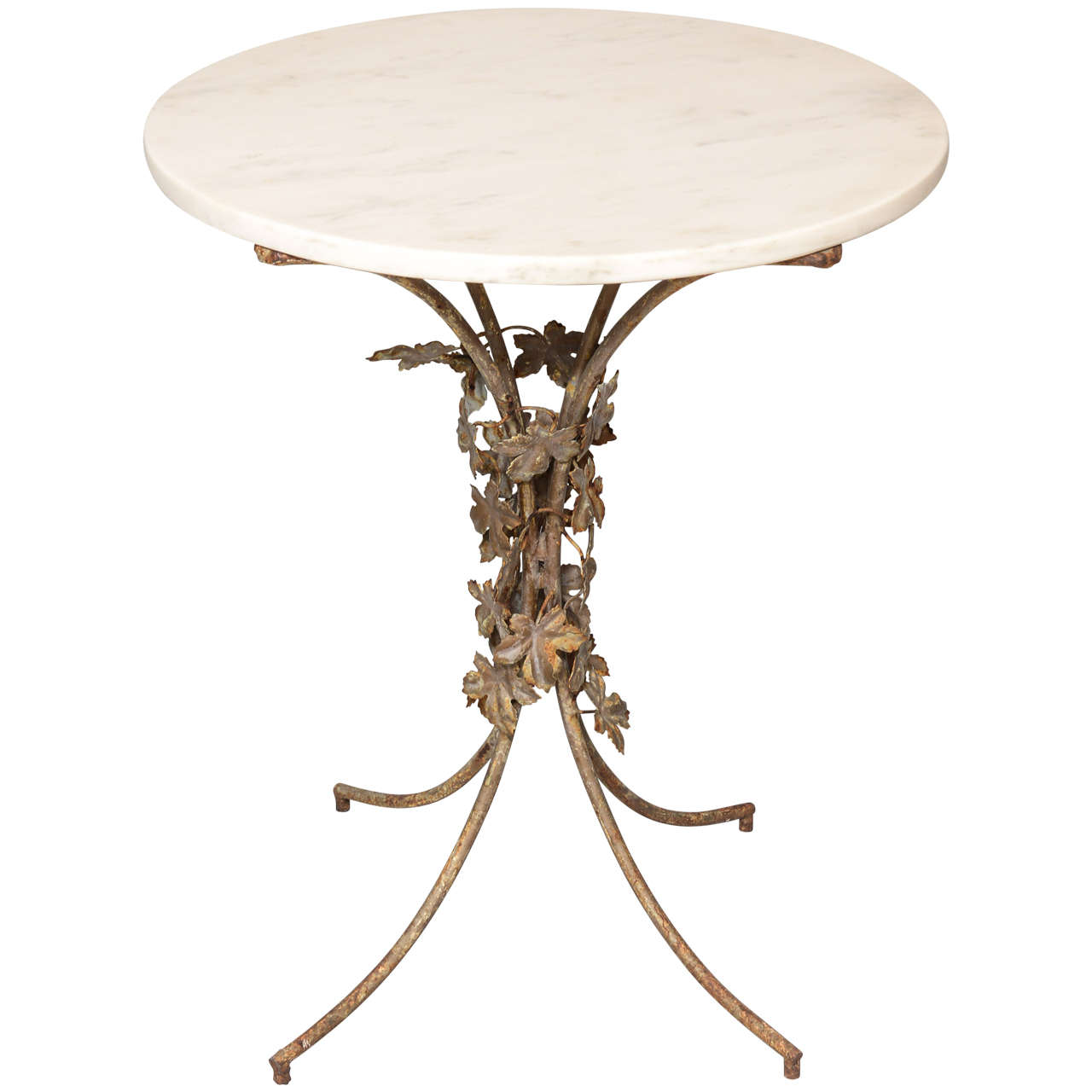 Foliate Iron Table with Marble Top