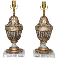 Pair of 18th Century Urn Fragment Lamps on Acrylic Bases