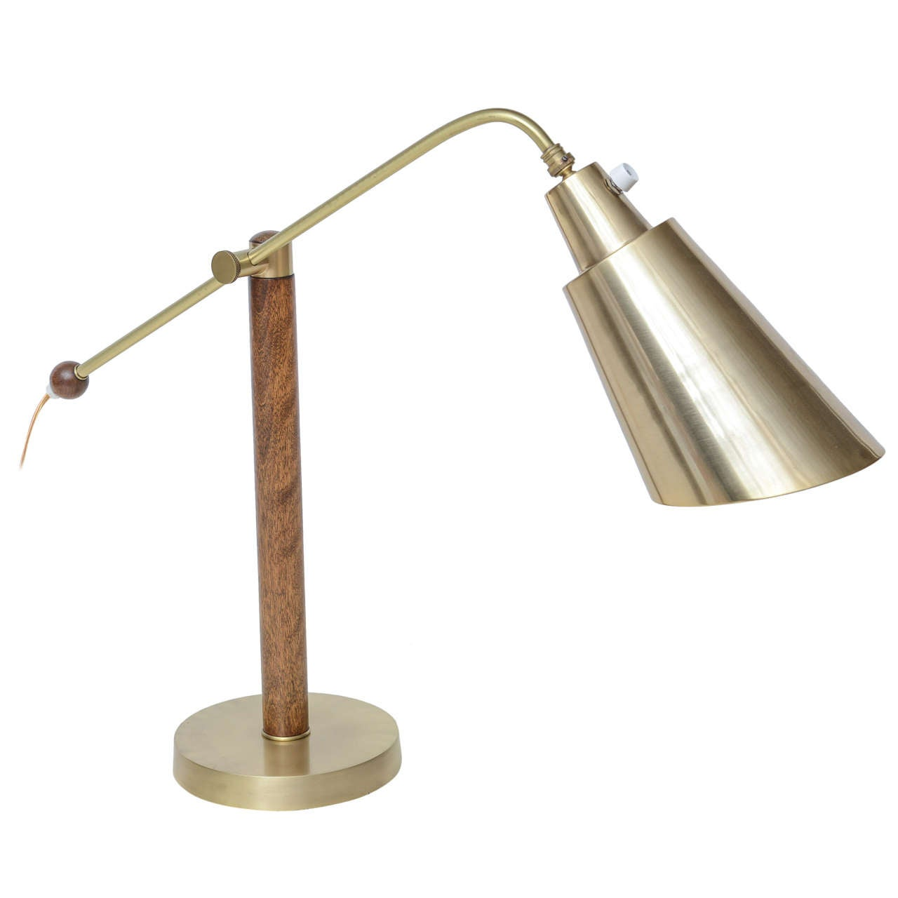 60's American Modernist Wood and Brushed Brass Desk Lamp ...