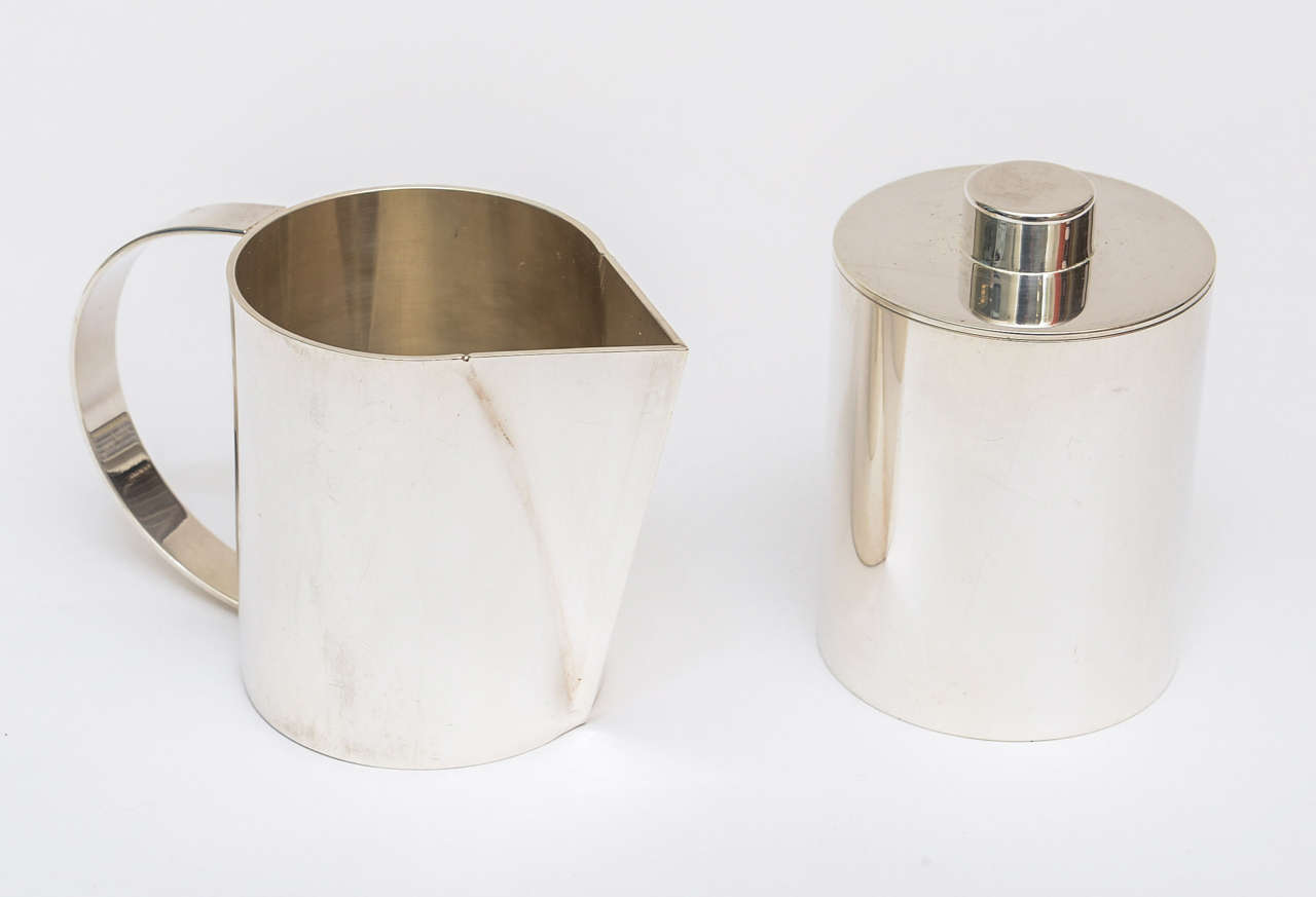 Swid Powell for Calvin Klein Silver Plate Three-Piece Coffee Service In Good Condition For Sale In North Miami, FL