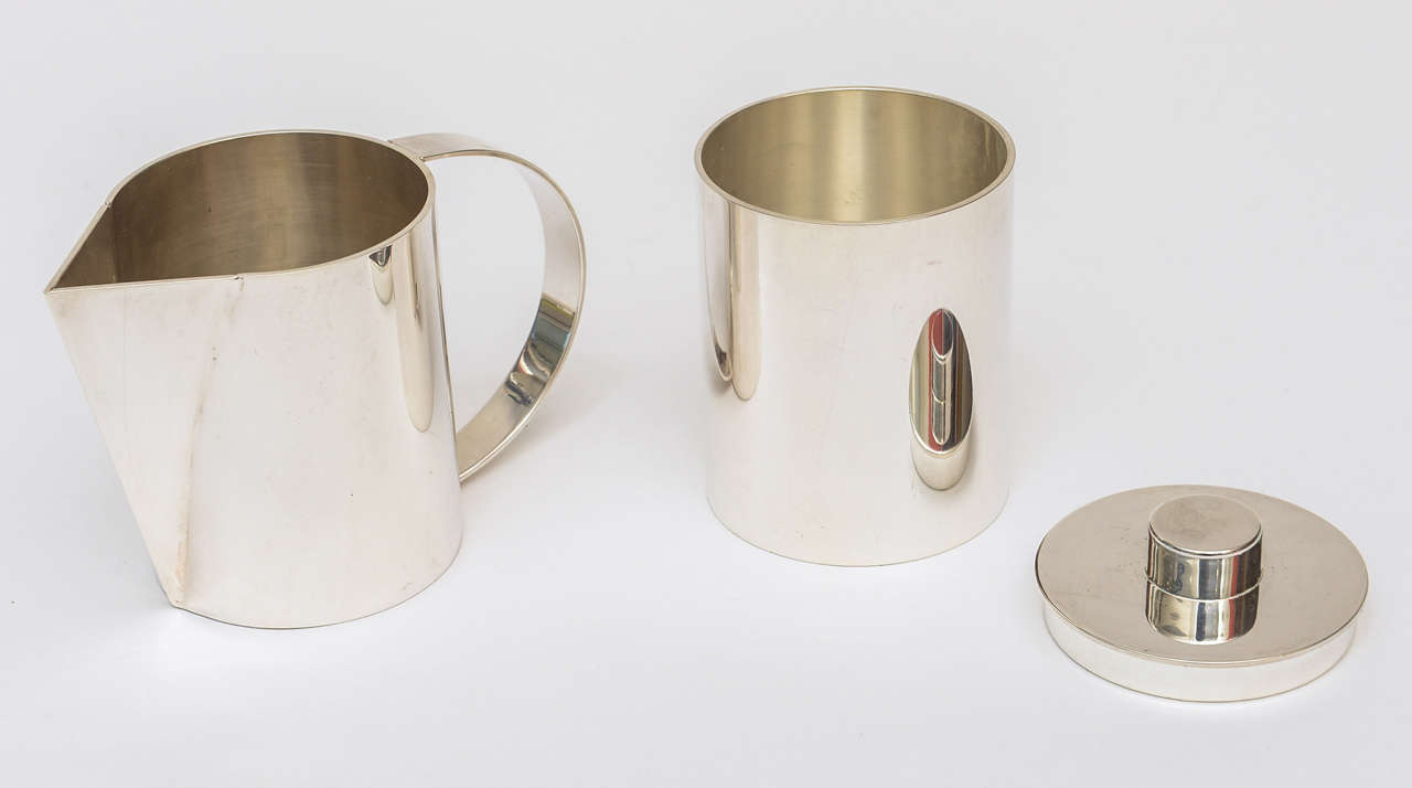 Late 20th Century Swid Powell for Calvin Klein Silver Plate Three-Piece Coffee Service For Sale