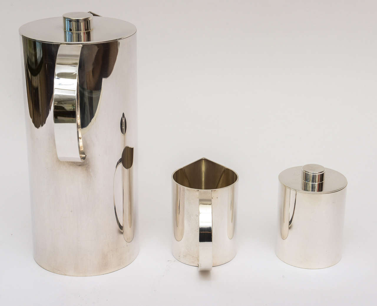 Swid Powell for Calvin Klein Silver Plate Three-Piece Coffee Service For Sale 4