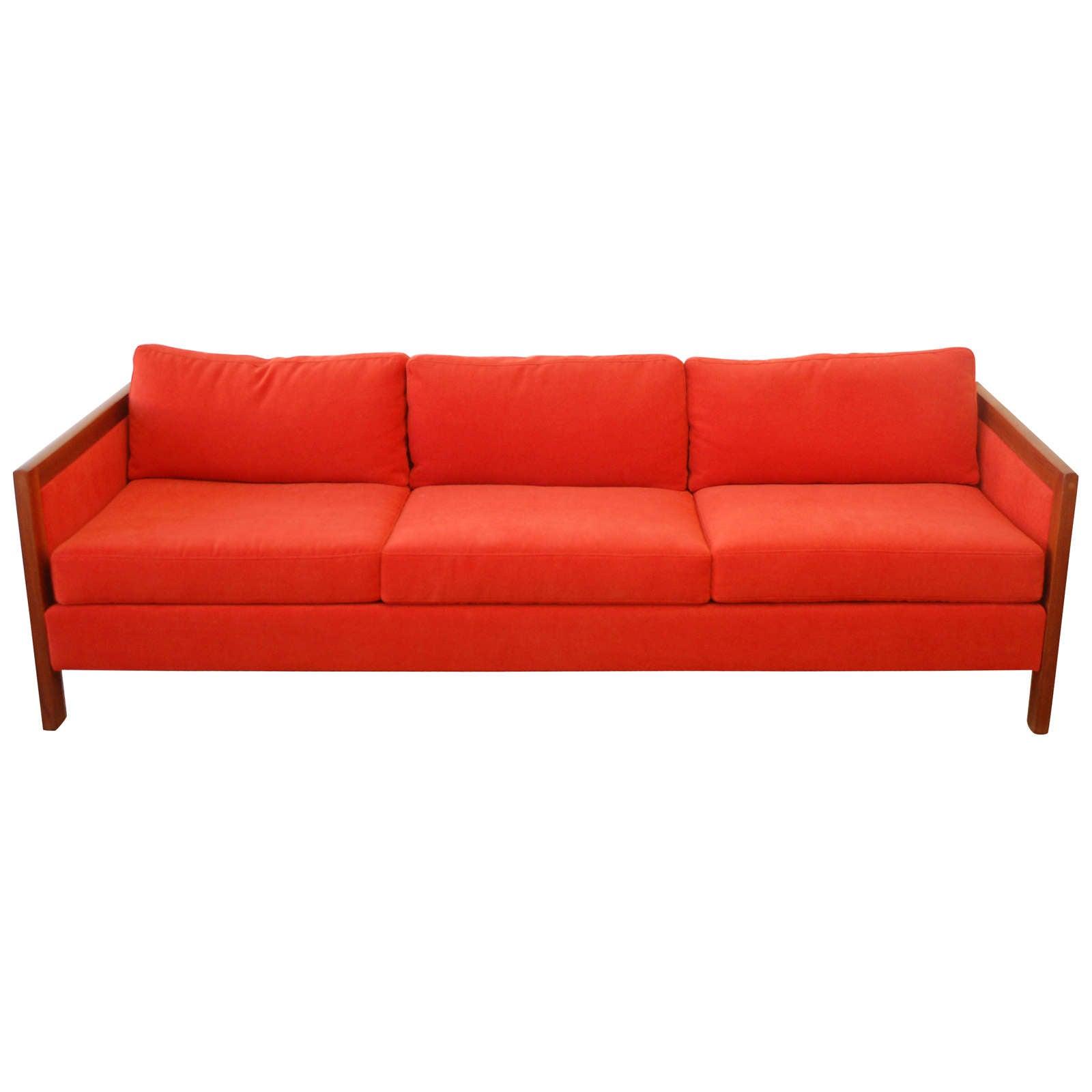 Mid Century Wood Frame Sofa