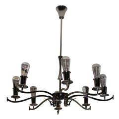 An Italian nickel-plated eight-arm chandelier