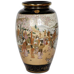 Large Meiji Period Satsuma Porcelain Vase