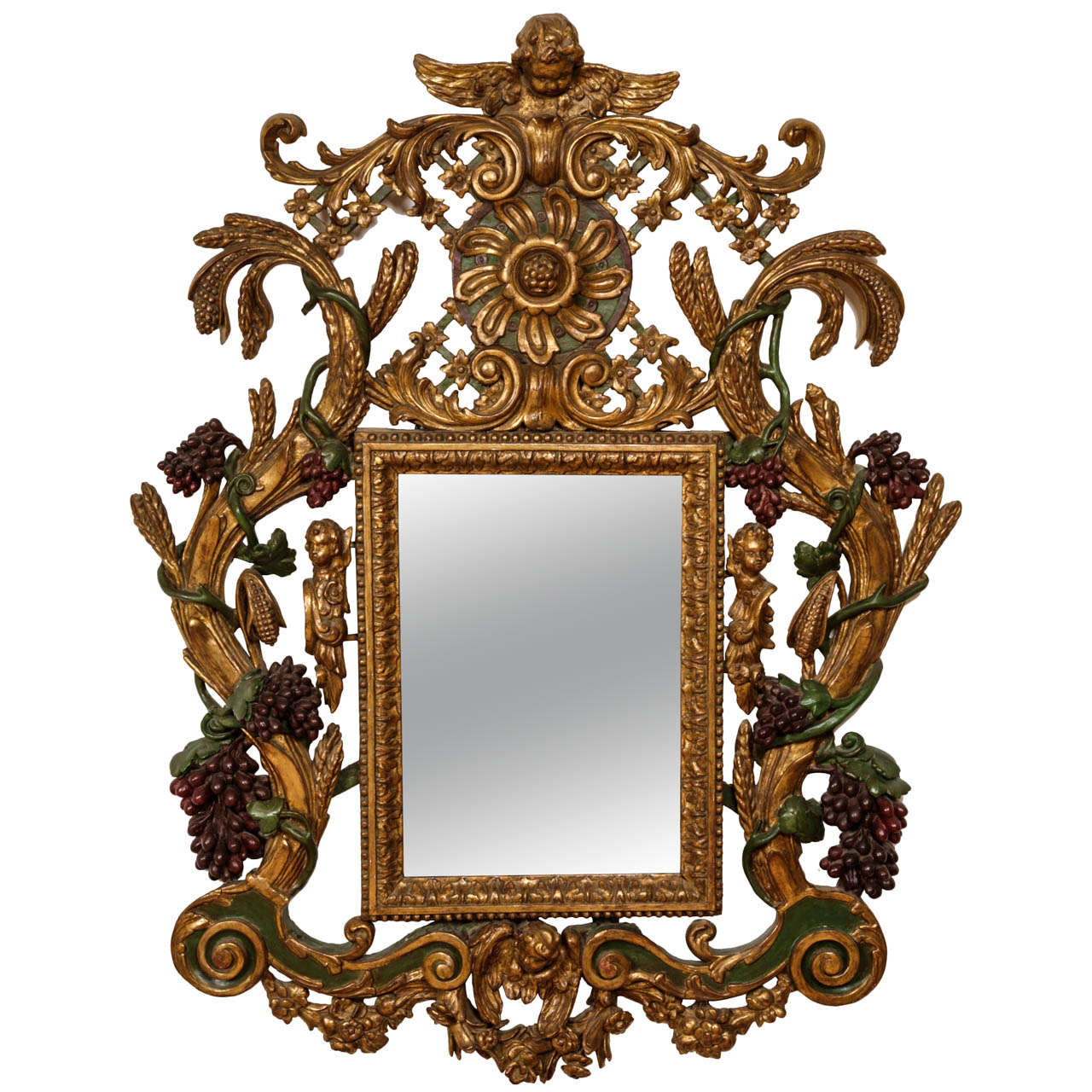 Baroque-Style Carved Giltwood and Painted Mirror