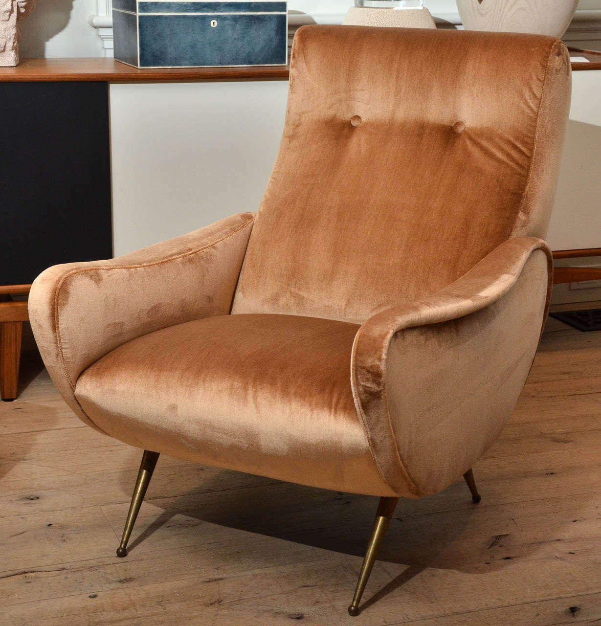 Stunning pair of 1950's Italian armchairs in the style of Marco Zanuso upholstered in silk copper velvet