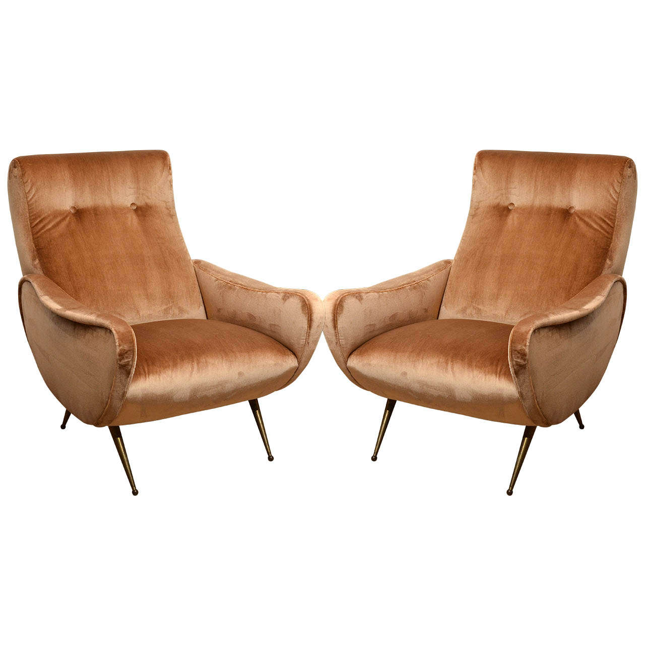 Pair of Italian Midcentury Armchairs in the Style of Marco Zanuso