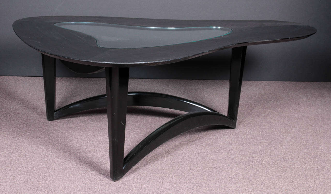 Mid Century Modern Biomorphic Free Form Coffee Table With Glass Inset At 1stdibs