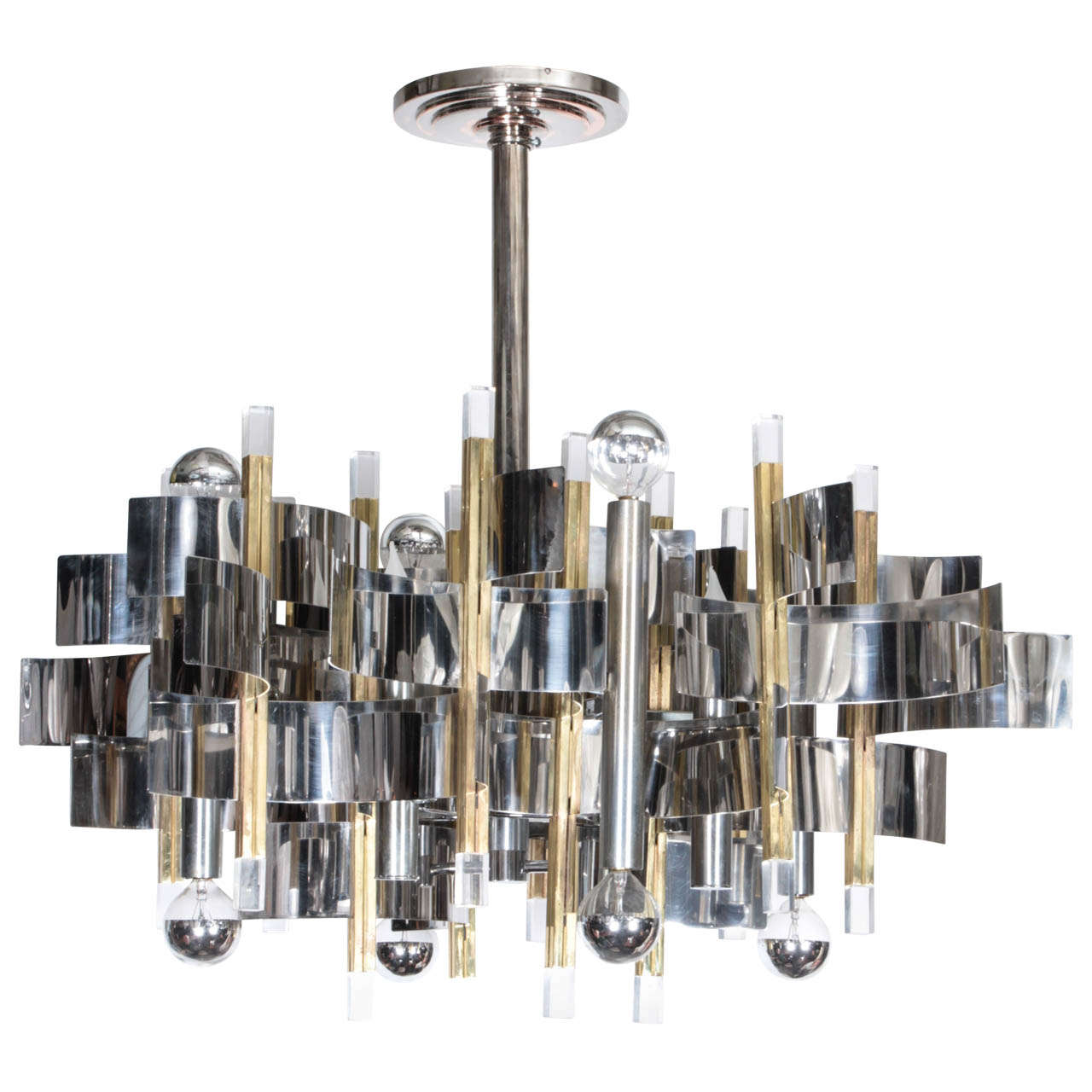 Gaetano Sciolari Two Tone Twelve Light Mid Century Modern Chandelier For