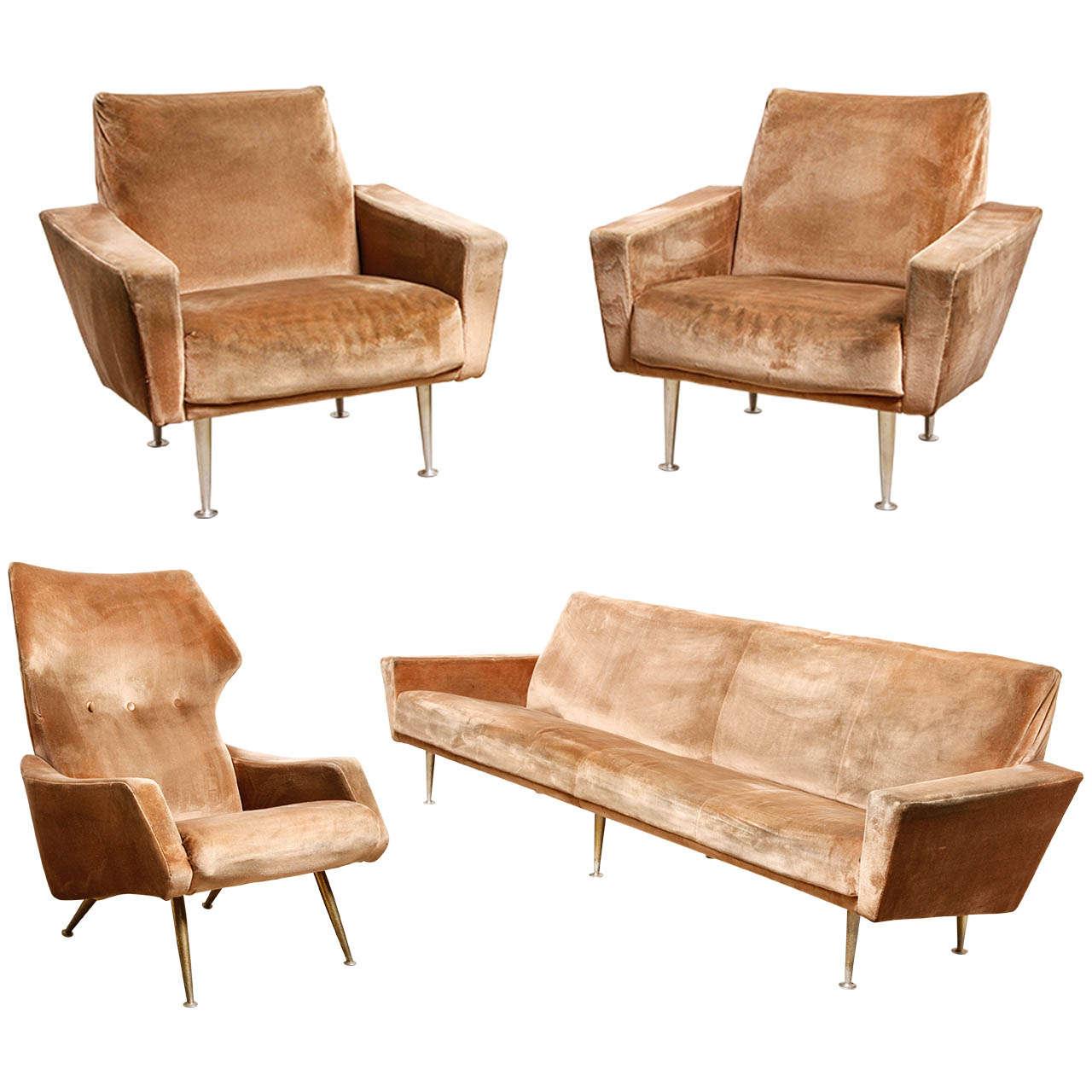 Italian Living Room Furniture Sets: Midcentury Modern Italian Living Room Set At 1stdibs