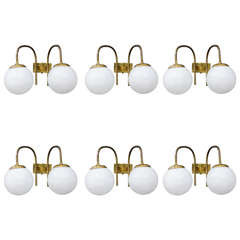 Set of Six Brass and Glass Wall Sconces