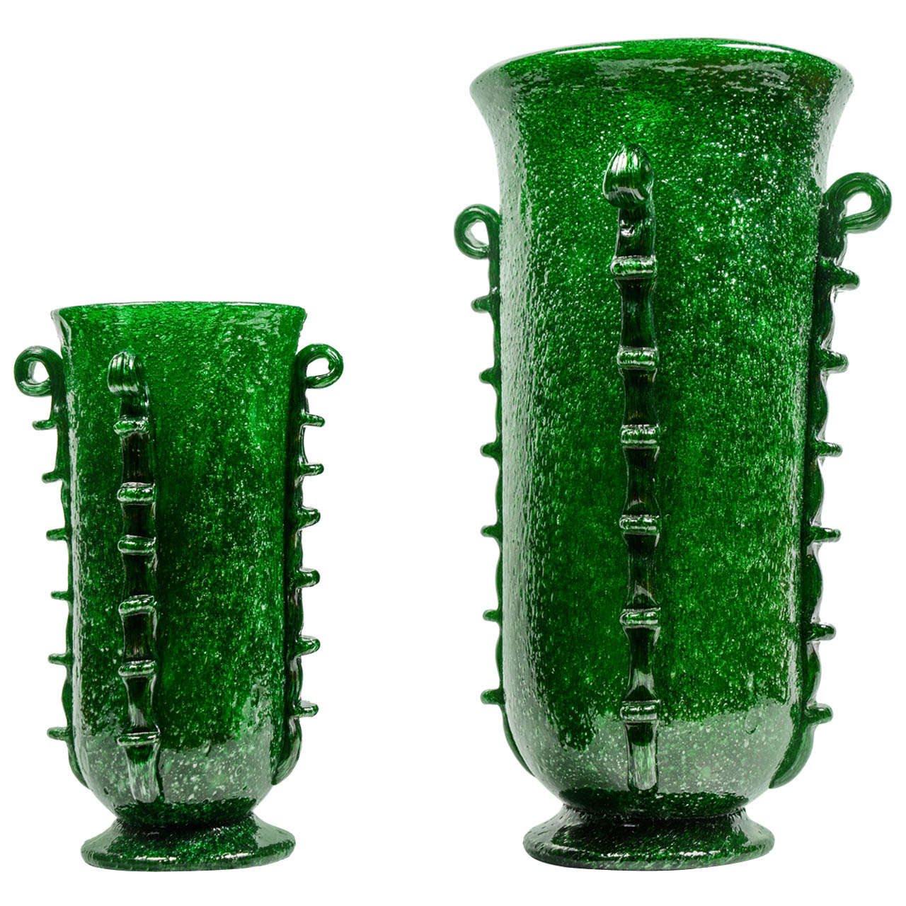 Rare pair of green murano glass vases by napoleone martinuzzi at rare pair of green murano glass vases by napoleone martinuzzi for sale reviewsmspy