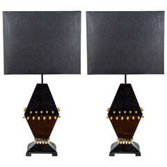 Pair of Nice Black Nacre and Brass Lamps
