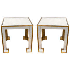 Pair of End Tables in Mirror and Metal