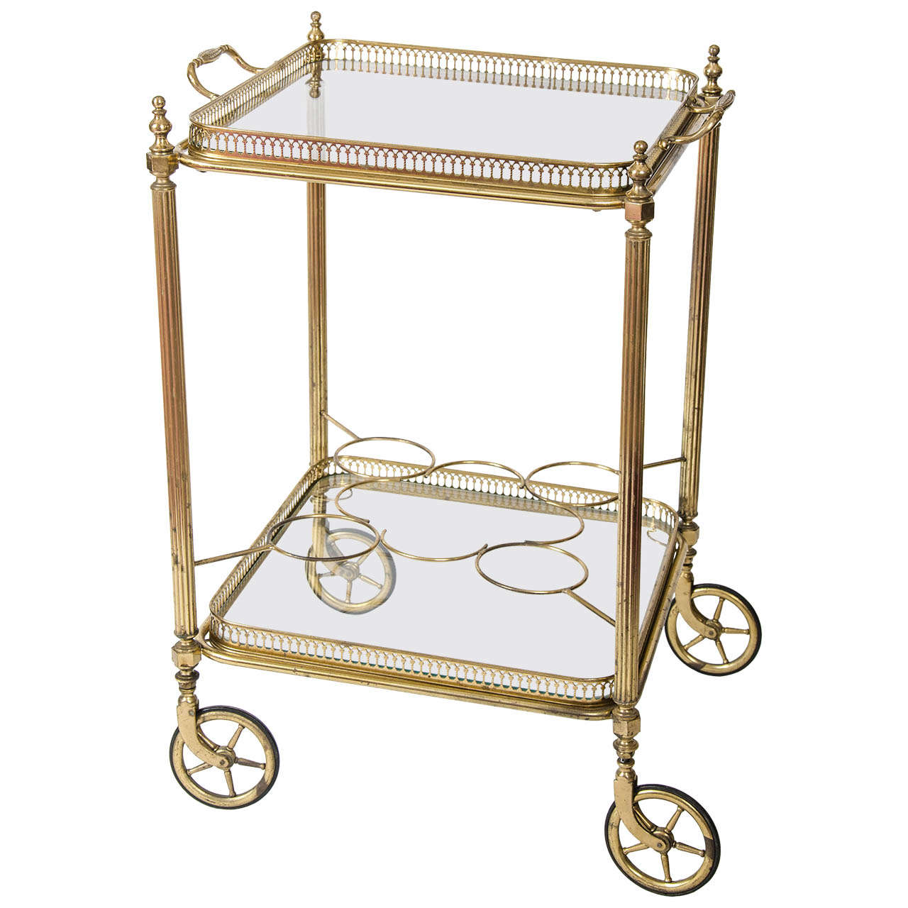 Vintage French Br Bar Cart Drinks Trolley For