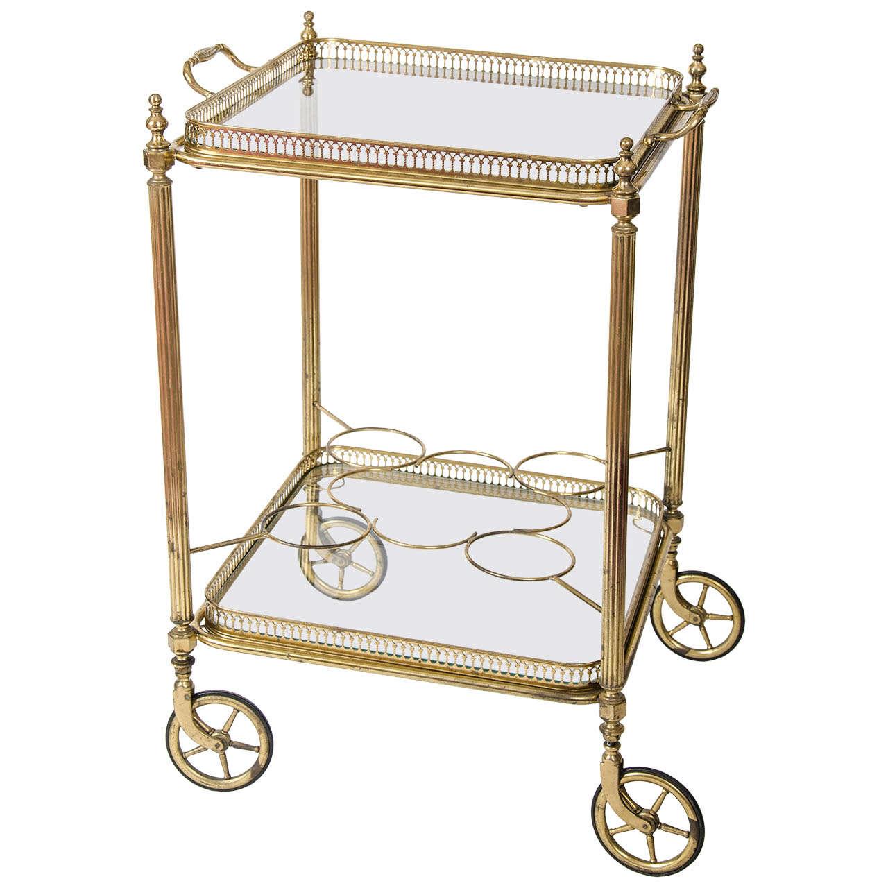 vintage french brass bar cart drinks trolley at 1stdibs. Black Bedroom Furniture Sets. Home Design Ideas