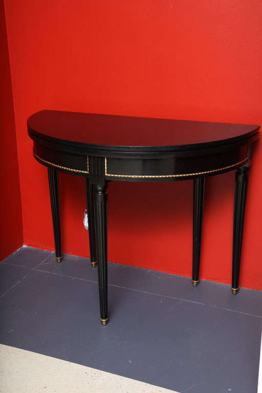 Sleek and Chic Black Lacquered Demilune Table Attrib. to Jansen image 3