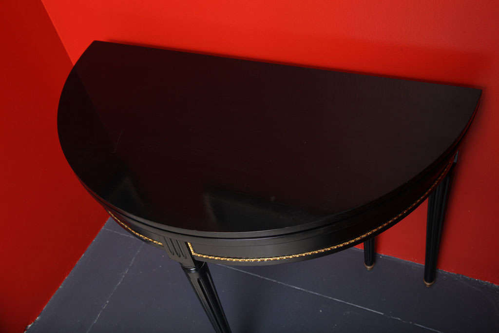 Sleek and Chic Black Lacquered Demilune Table Attrib. to Jansen image 8