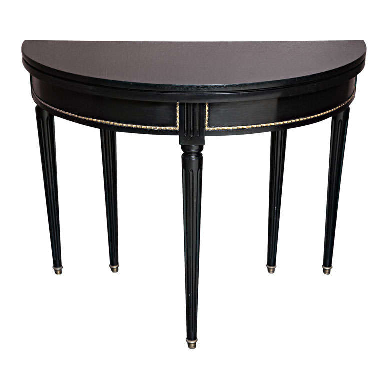 Sleek and Chic Black Lacquered Demilune Table Attrib. to Jansen