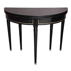 Sleek and Chic Black Lacquered Demilune Table Attrib. to Jansen thumbnail 1