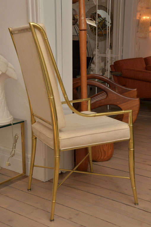 set of 8 faux brass bamboo dining chairs in suede at 1stdibs