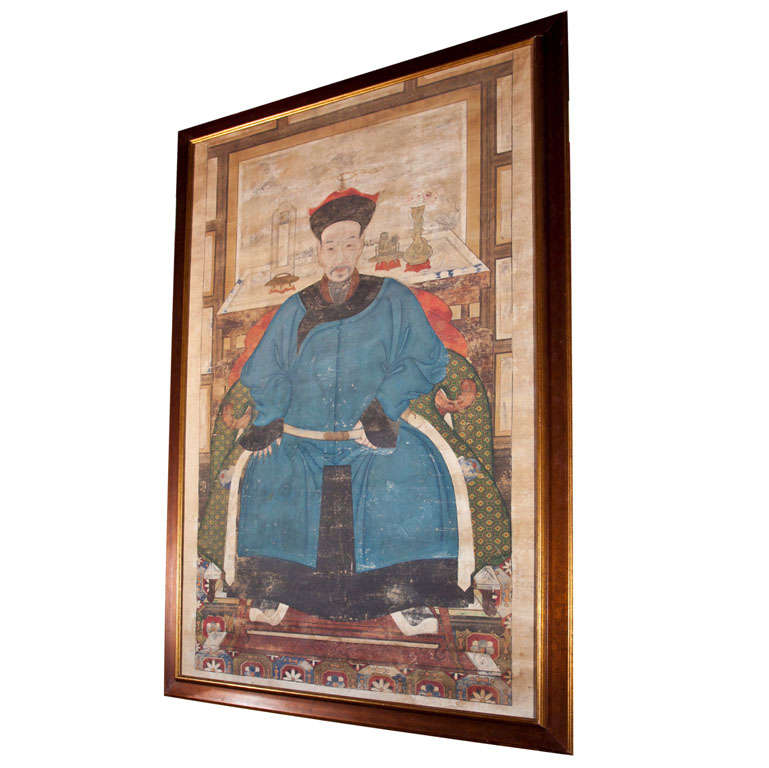 Chinese ancestor scroll painting at 1stdibs for Chinese furniture norwalk ct
